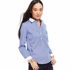 Tommy Hilfiger Blue White Long Sleeve Popover Top